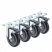 "Krowne Metal - Casters, Heavy Duty Universal 3.5""x3.5"" Plate, 5"" Wheel with Front Brake, 4 count"