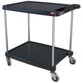 Metro myCart Series - Utility Cart with 2 Shelves, 34x24x35 Heavy Duty Black Plastic Shelves with 4