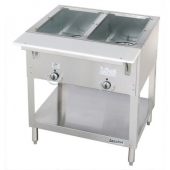 Duke - Aerohot Steam Table with 2 Wells, Gas, 30.38x22.44x34 Stainless Steel, 5,000 BTU