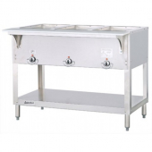 Duke - Aerohot Steam Table with 3 Wells, Gas, 44.38x22.44x34 Stainless Steel, 7,500 BTU