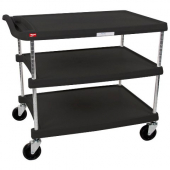 Metro myCart Series - Utility Cart with 3 Shelves, 40.25x28x37 Heavy Duty Black Plastic Shelves with