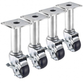 "Krowne Metal - Casters, Adjustable Height (8.5""-10.5"") with 3.5"" Plates, 3"" Wheel, Used on Fryers"