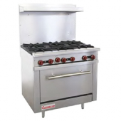 "Connerton - Gas Range, 36"" with 6 Open Top Burners (28,000 BTU), Cast Iron Grates and Bake-n-Roast O"
