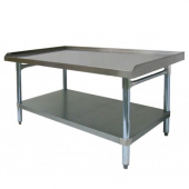 "GSW - Equipment Stand, 30x48 Stainless Steel Top, Galvanized Undershelf and Legs with 1"" Upturn on 3"