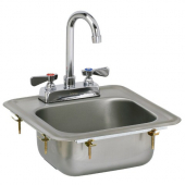 GSW - Hand Sink, Standard Drop In with no Lead Faucet and Strainer, 14.125x13.5 Stainless Steel with