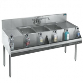 "Krowne Metal - 1800 Series Bar Sink with Faucet, 6"" Three Compartment with 12"" Left/Right Drainboard"