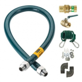 "Krowne Metal - Gas Connector Complete Kit, .75""x48"" Stainless Steel Hose, Quick Disconnect, Gas Valv"