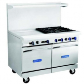 "Royal Range - Gas Range with 2 Ovens, 36"" Griddle and 4 Open Burners, 250,000 BTU, 32x56.5x60, Caste"