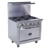 Royal Range - Gas Range with Standard Oven, Stainless Steel, 6 Open Burners (Casters not Included),