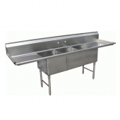 "GSW - Sink with 3 Compartments and 2 12"" Drain Boards, Bowl Size 14x10x10 Stainless Steel"