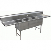 "GSW - Sink with 3 Compartments and 2 18"" Drain Boards, Bowl Size 20x16x12 Stainless Steel"
