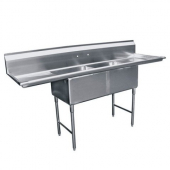 "GSW - Sink with 2 Compartments and 2 18"" Drain Boards, Bowl Size 18x18x12 Stainless Steel"
