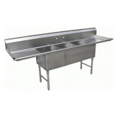 "GSW - Sink with 3 Compartments and 2 24"" Drain Boards, Bowl Size 18x18x14 Stainless Steel"