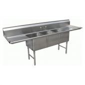GSW - Sink with 3 Compartments and 2 Drain Boards, 24x20x12