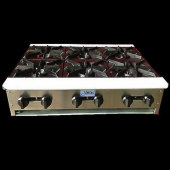 "Stratus - Hot Plate, Heavy Duty 36"" with 6 Burners, 36x29x10, Total BTU 156,000"