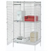 Nexel - Security Unit, 24x48x66 with Poly-Z-Brite Clear Epoxy Over Zinc Plate with Grid Mesh, Top an