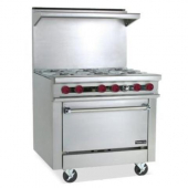 "Therma-Tek - Gas Range with 6 Open Burners and 26"" Oven, 57.5x36x33"