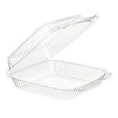 ValuPack Hinged Lid Plastic Container, Clear PET Plastic, 9x9.5x3