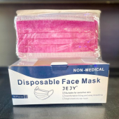Face Mask with Elastic Ear Loop, Disposable Pink, 50 count
