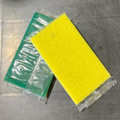 F - Yellow Sponge with Green Scrubber, 3.125x6.25, each