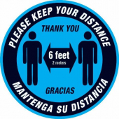 A - Social Distancing Floor Decal, Blue (Qty discount on 6 and 12 or more)