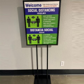 A - Social Distancing Standing Sign, English/Spanish, each