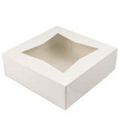 Cake/Bakery Box with Window Top, White, 8x8x2.5