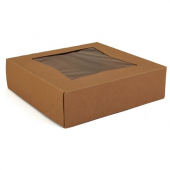 Cake/Bakery Box with Window Top, Kraft Brown, 8x8x2.5