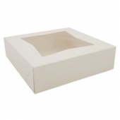 Cake/Bakery Box with Window Top, White, 9x9x2.5