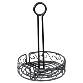 Winco - Condiment Caddy, 6.25x9 Round Black Wire