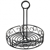 Winco - Condiment Caddy, 7.5x9 Round Black Wire