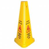 "Winco - Caution Wet Floor Sign, 27"" Cone Shaped, English/Spanish"