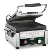 Waring - Panini Grill, Compact Italian-Style, 9.75x9.25 Cast-Iron Cooking Surface, with Stainless St