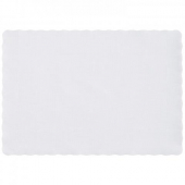 Placemat, White Scalloped Edge Embossed, 9.5x13.5