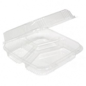 Pactiv - Food Container, 3 Compartment Hinged Smartlock Clear Plastic, 62 oz