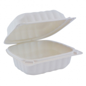 Pactiv - EarthChoice Food Container, 6x6 1 Compartment Hinged White