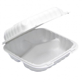 Pactiv - EarthChoice Food Container, 8x8 3 Compartment Hinged White