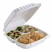 Pactiv - EarthChoice Food Container, 9x9 3 Compartment Hinged White