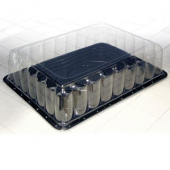 "Pactiv - Cake Container, Half Sheet Black Plastic Base with 5"" Clear Plastic Dome Lid"