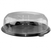 "Pactiv - Lazy Susan Container, 12"" Black Plastic Base with 3.5"" Clear Plastic Rose Dome Lid"